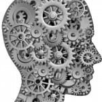 head and cogs b&w transparent background